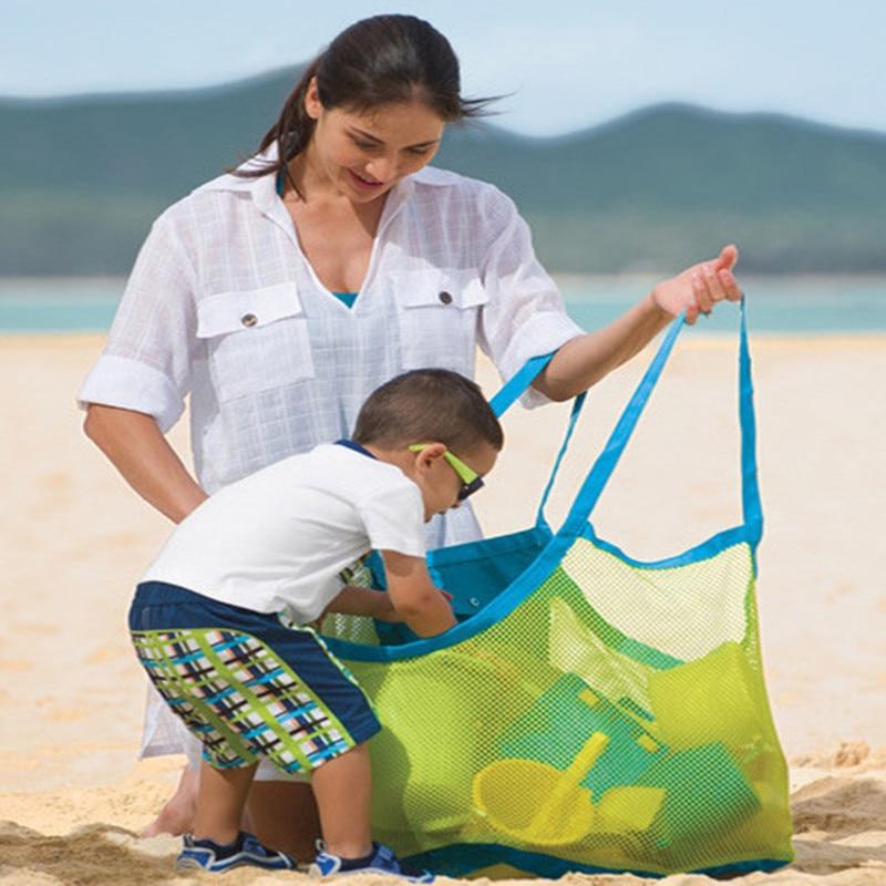 Bolsa de brinquedo portátil para crianças, malha de armazenamento para praia, areia do bebê, porta brinquedos, criança, rede, bolsa de brinquedo, natação organizador,