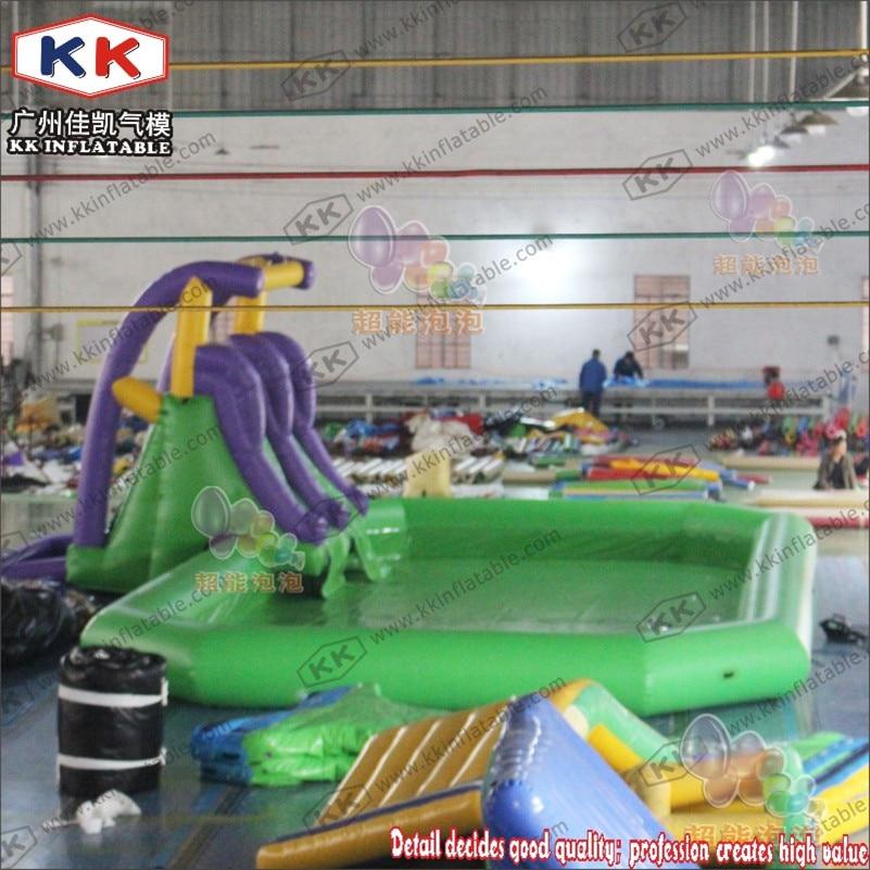 زلاجة مائية قابلة للنفخ مع حمام سباحة داخلي لحديقة ملعب للأطفال في الهواء الطلق من الدرجة التجارية
