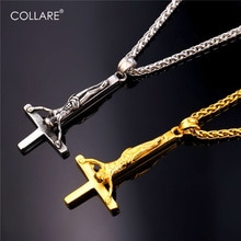 Collare à lenvers croix pendentif hommes en acier inoxydable couleur or collier femmes gothique inversé croix de saint-pierre bijoux P239