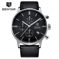 benyar men sport chronograph quartz watch waterproof leather calendar stopwatch wrist watch gold silver clock relogio masculino