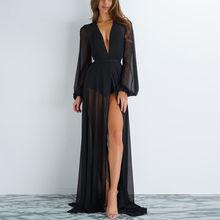 Новинка, горячая Распродажа, летний сексуальный женский шифоновый просвечивающий бикини, длинный купальный костюм, купальник, Пляжное платье, купальный костюм, накидка