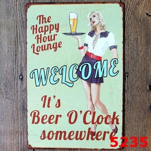 Happy Hour Lounge пивная винтажная металлическая жестяная вывеска, Постер для паба, Настенный декор 20x30 см