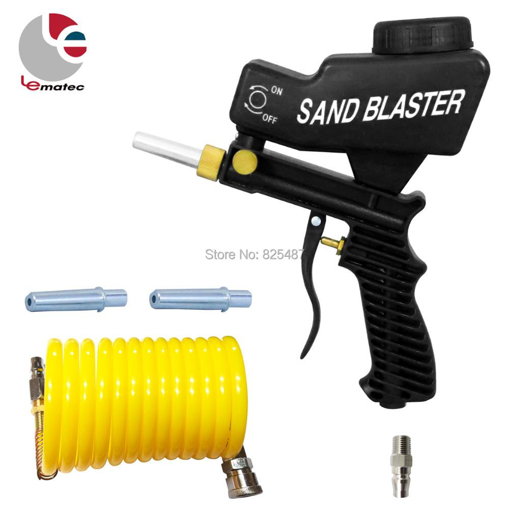 "LEMATEC התזת חול אקדח עם 1/4 ""מחבר מהיר ניילון צינור אוויר נייד כלים פנאומטיים טייוואן שוחקים כלים"
