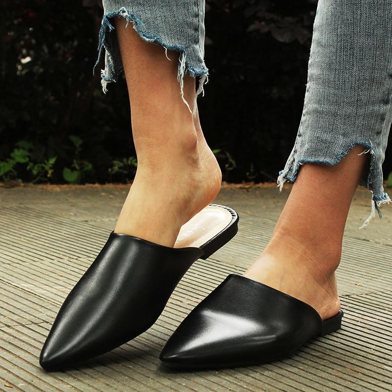 Обувь на плоской подошве; Модные женские босоножки без задника из искусственной кожи с острым носком; Сандалии без застежки; Женские шлепанцы; Летние босоножки; Женская обувь; 2020