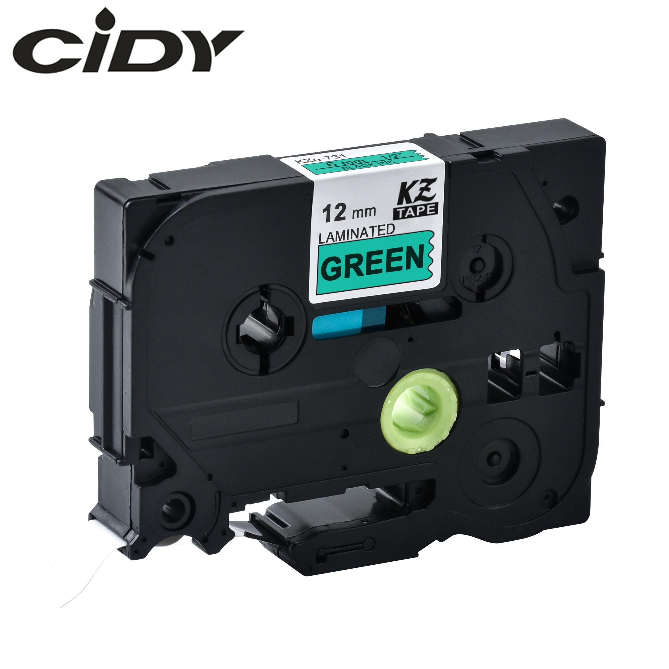 Cidy tze 731 tz731 preto no verde laminado compatível p toque 12mm tze-731 tz-731 tze731 etiqueta fita cassete cartucho
