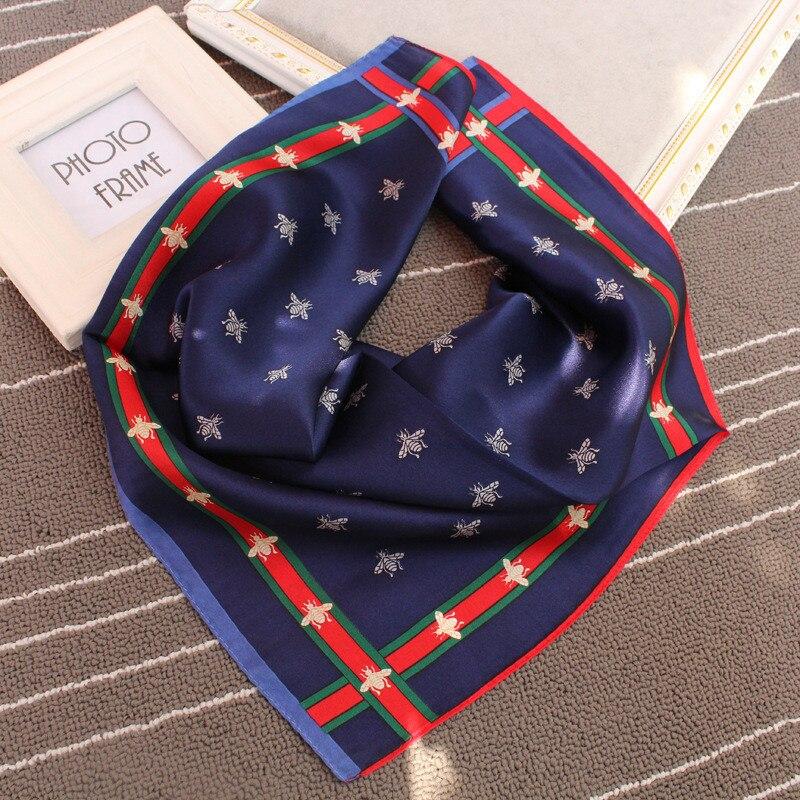 Nuevo pañuelo de seda auténtica de invierno de lujo con exquisita Impresión de pañuelos de seda a rayas, pañuelo cuadrado pequeño elegante para mujer, envoltura suave y cálida