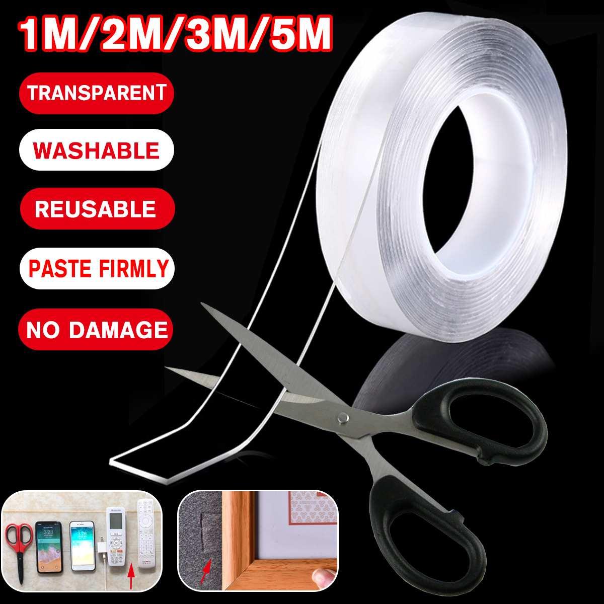 Nueva longitud de doble cara 1 M/2 M/3 M/5 M de ancho 30mm transparente cinta adhesiva transparente grosor 1mm/2mm
