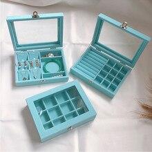 Kleine Samt See blau Trage Fall mit Glas Abdeckung Schmuck Ring Display Box Tray Halter Storage Box Organizer Ohrringe Ring