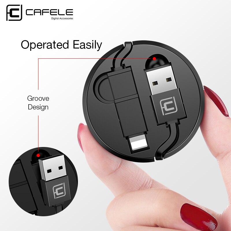 Cable USB Cafele retráctil 2 en 1 Micro y 8 pines para iPhone Xiaomi Huawei 130cm 5V 2A Cable de carga USB