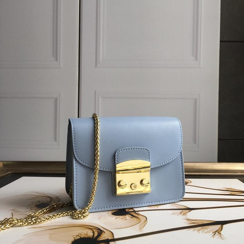 Alta qualidade bolsas de couro genuíno das mulheres saco corrente dourada designer de luxo mulher bolsa moda 100% bolsa de ombro