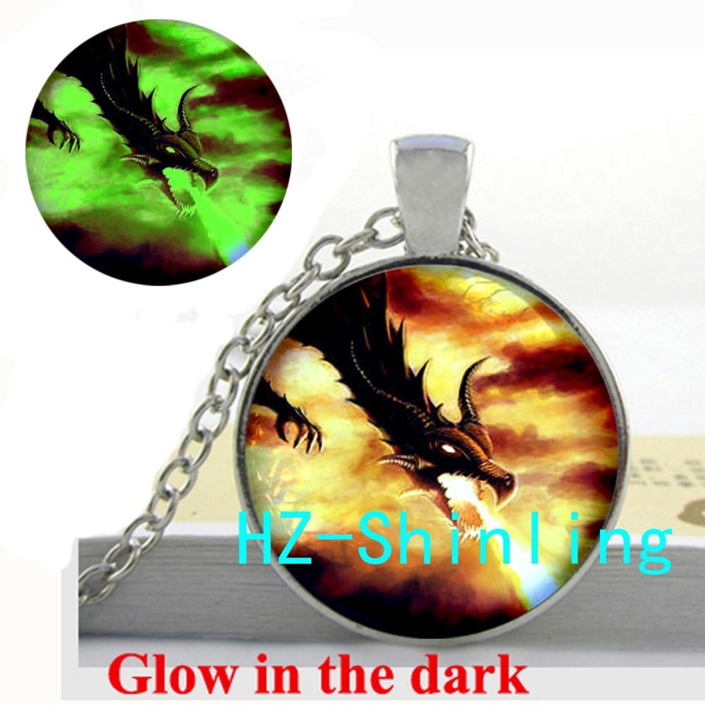 Fire Magic Dragon Necklace Fantasy Fire Dragon Glow Pendant Glass Dome Jewelry Glow in The Dark Jewelry Necklace