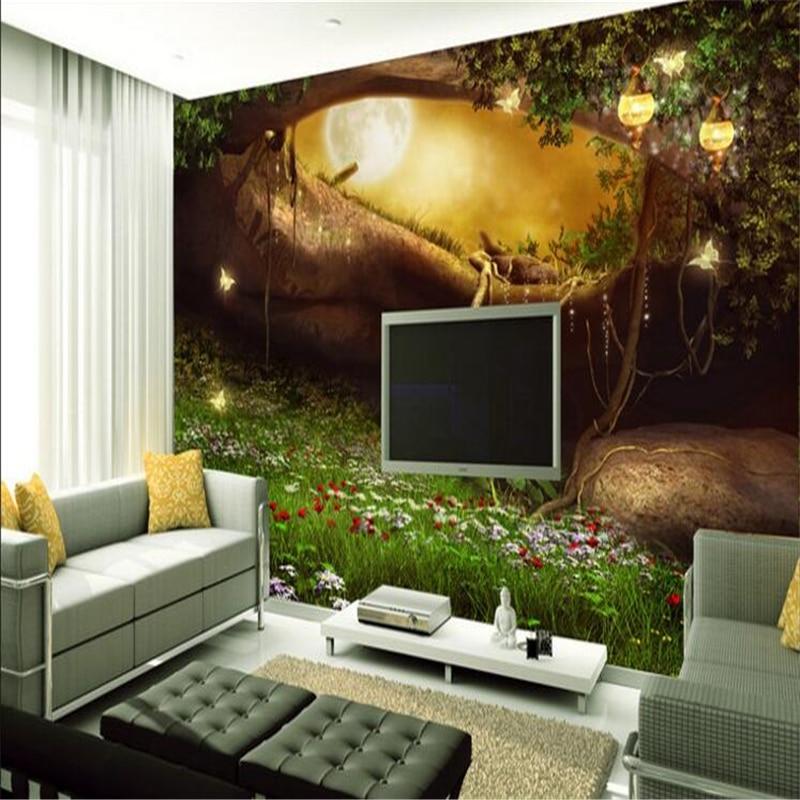 Papel tapiz grande personalizado beibehang, papel tapiz de bosque de hadas, País de las hadas, Fondo de sala de estar de estilo europeo, papel de pared 3d europeo