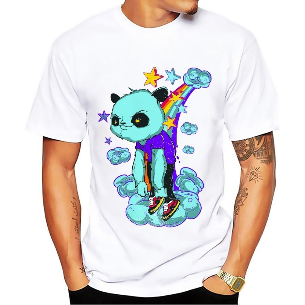 Camiseta divertida hombres extraterrestre del Panda del arco iris 2018 novedad de verano camiseta fresca casual de manga corta blanca para hombre dibujo sin pegamento