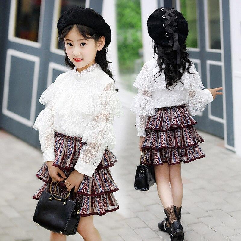 2019 Girl's spring Clothing Sets Baby Girls lace Chiffon long-sleeve shirt+ Pleated skirt 2pcs children kids clothing set 12 Y