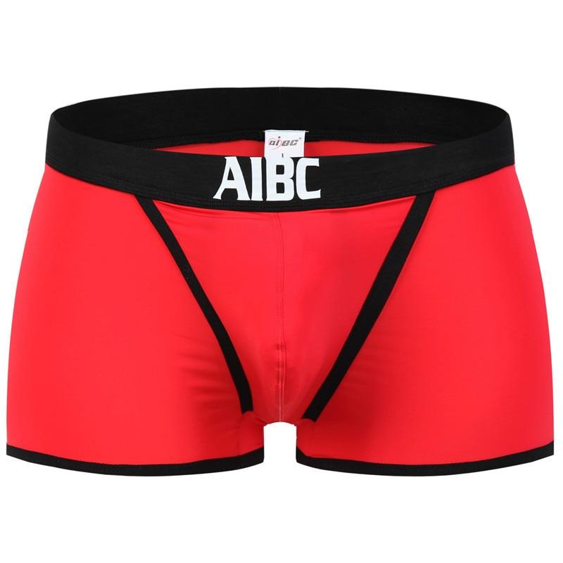 Nova AIBC Sexy Roupa Íntima masculina de seda de Nylon Cueca Boxer Shorts Cuecas Boxers Gay Masculino Engraçado