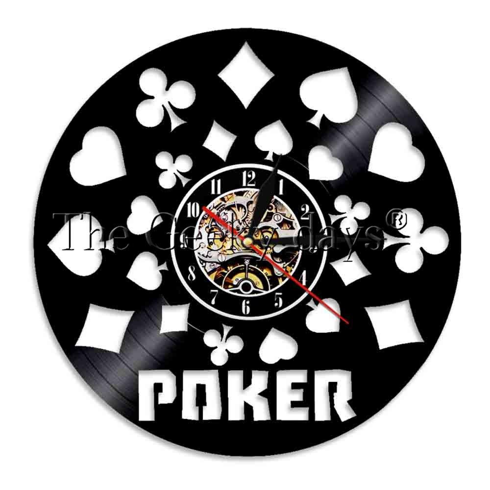 1 peça poker rei rummy cartão led luz iluminado cartões de jogo holdem omaha vinil registro lp relógio para o amante do poker presente
