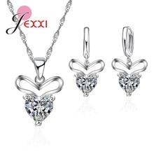 Big Verkauf! Top Qualität Schmuck 925 Gestempelt Sterling Silber Herz Liebhaber Schmuck Sets (Halskette + Ohrring) Zirkonia Stein