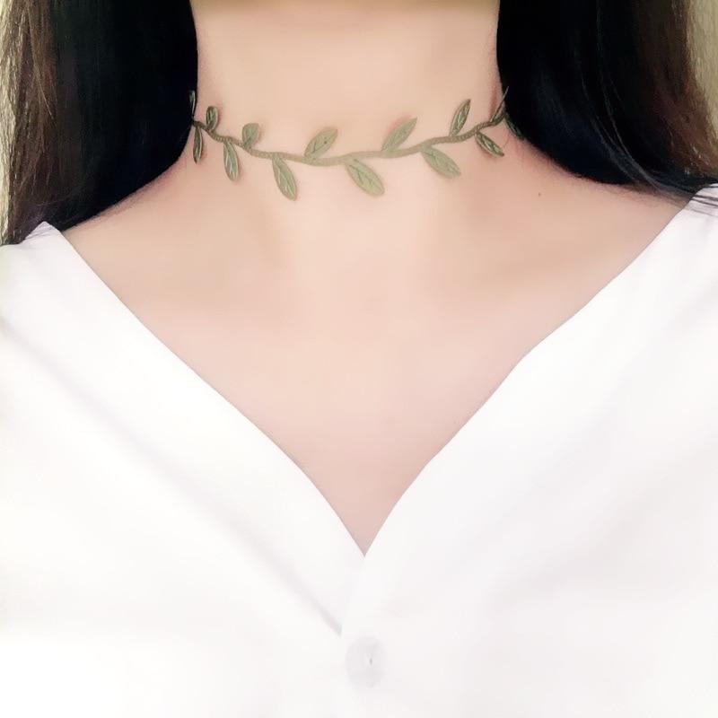 Doreen Box nueva moda tela verde hoja gargantilla Collar para mujeres boda Fiesta Club corto clavícula cadena Simple joyería