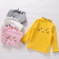 baby girls tops children long sleeve t shirt spring autumn toddler girls cute cat embroidery shirt 3 4 5 6 7 years kids clothes
