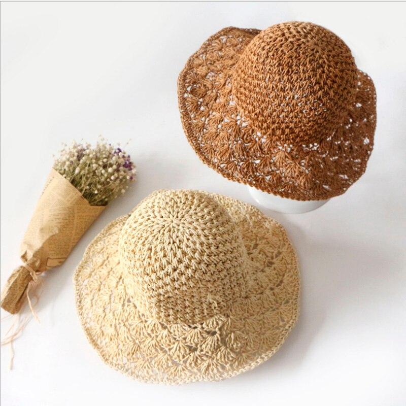Moda feminina verão artesanal dobrável strawhat chapéu de sol grande ao longo do vintage artesanal crochê palha trança sol-sombreamento chapéu