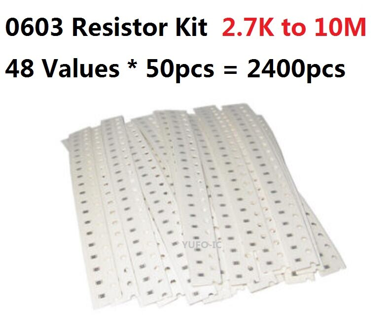 48 Values*50pcs=2400pcs SMD 0603 Resistor kit 2.7K Ohm-10M 5% Resistance Assorted kit set 10K 18K 22K 47K 51K 100K 1M chips pack