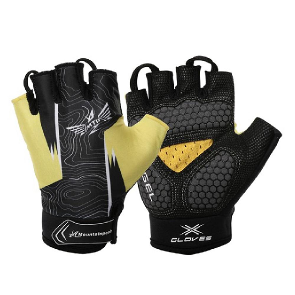 New Cycling Bike Comfortable Lycra Bicycle Sports GEL Palm Pad MEN WOMEN YOUTH ANTI-SLIP Half Finger Glove yellow S-XL