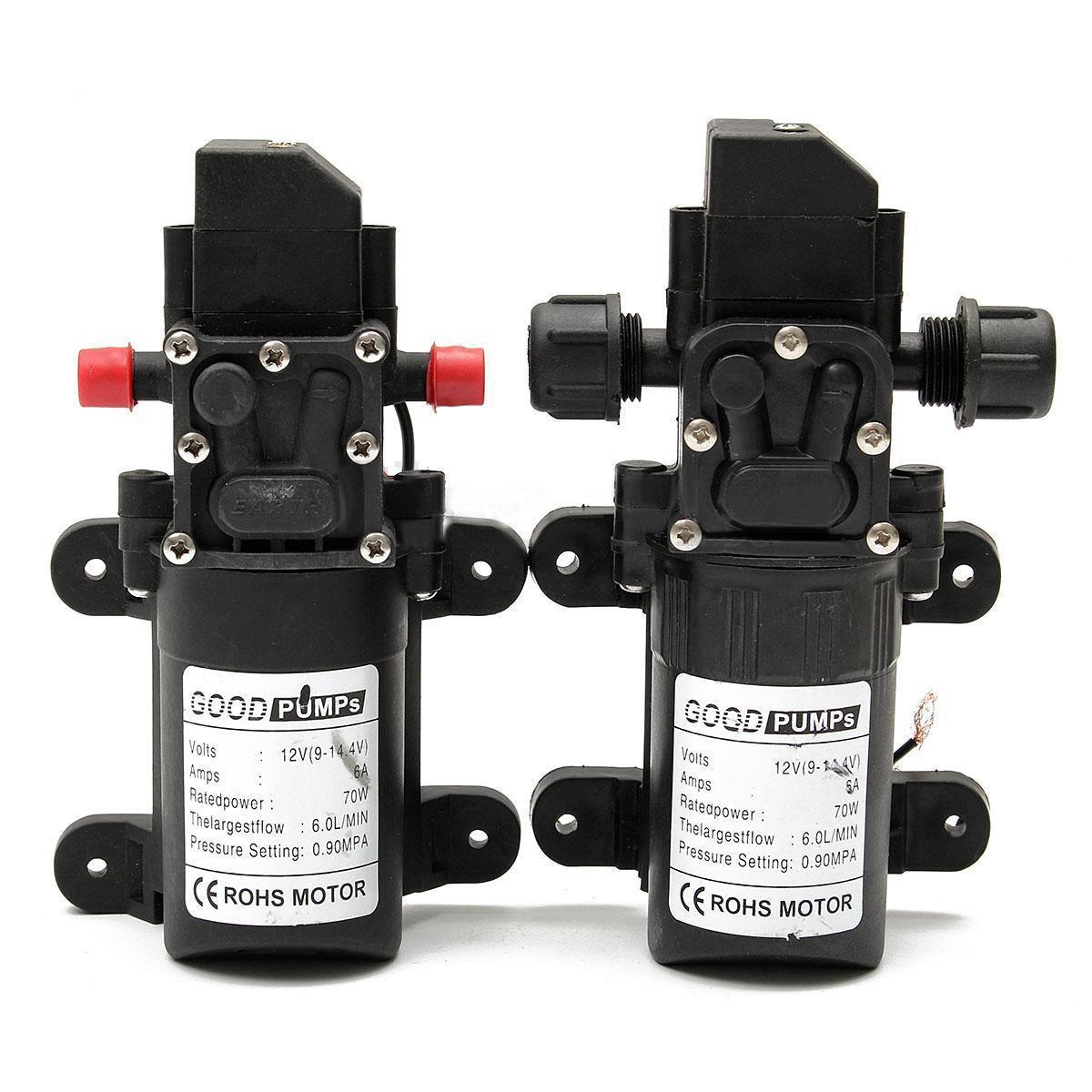 صغير آمن الذاتي فتيلة مضخة DC12V 70W 130PSI 6L/دقيقة عالية مستقرة ضغط الحجاب الحاجز مضخة مياه 2 أنماط