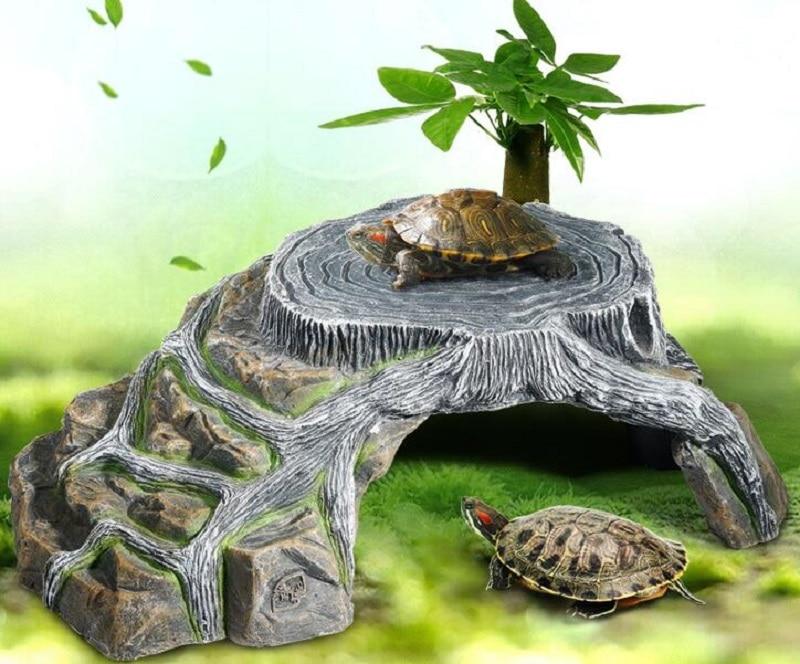 Creativa para reptil cueva acuario piedra para tanque de peces tortuga cuerda escalar disfrutando rampa plataforma tortuga sol terraza