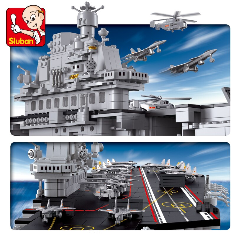 Sluban Blocks 0388 Technic Airplane Aircraft Carriers Compatible LGSet Submarine Sets Ship Boat Building Bricks Toys Gifts