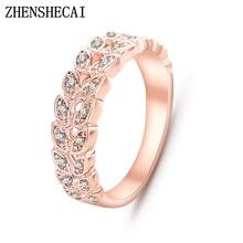 Top qualité or concis classique CZ cristal bague de mariage couleur or Rose cristaux autrichiens en gros nj92