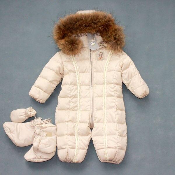 روسيا ملابس الطفل 0-2 سنة صبي فتاة الشتاء أسفل بذلة الحيوان الفراء طوق