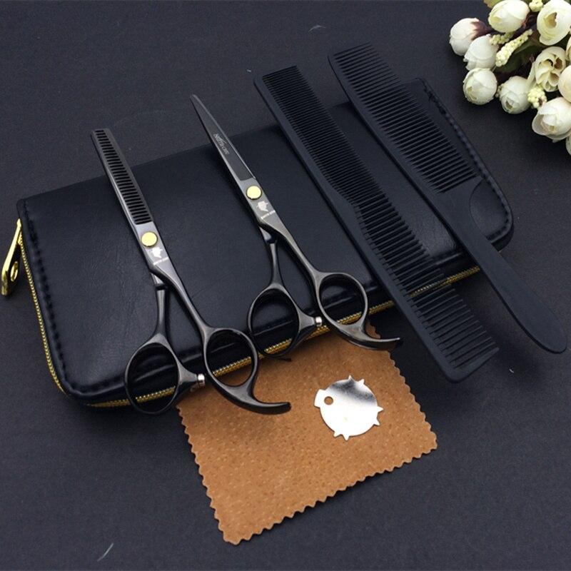 5,5 Tijeras de peluquería profesionales set de Corte + tijeras de peluquero de adelgazamiento 2 uds set + estuche + peine