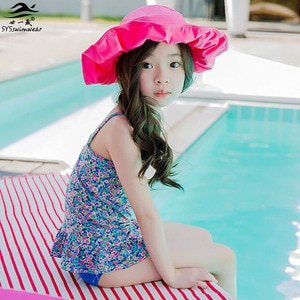High quality New Kids Swimwear Girl Baby Kids Bikinis Two Pieces Floral Children Swimsuit Bathing Suit Ruffles