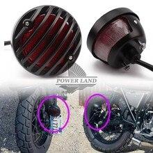 Için Harley Bobber Chopper Sokak Bob GN CG Yamaha Suzuki Farı Motosiklet Siyah Izgara Retro Fren Kuyruk Işık Kırmızı Lens 1 adet