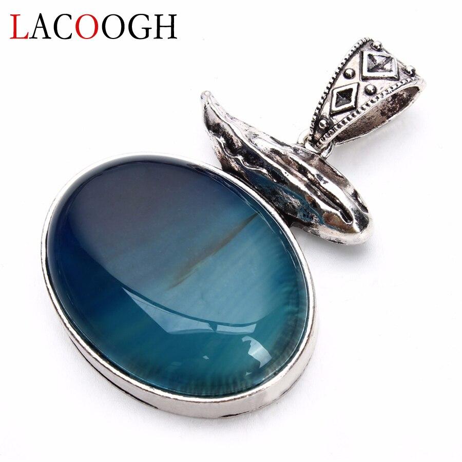 Lacoogh atacado retro azul listrado pedra natural antigo 42*61mm colares pingentes para homens diy artesanato jóias descobertas