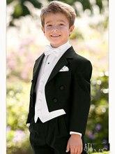 Top di vendita/Trasporto libero/Custom Made Kid suits Notch Collar Bambini Wedding Suit Ragazzi Abbigliamento nero (Jacket + Pants + Tie + Gilet)