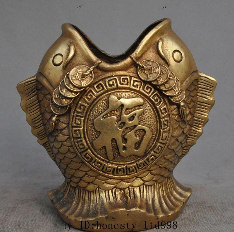 Marca Fengshui chino, moneda y riqueza de latón, cepillo de pez de la suerte, jarrón de lápiz