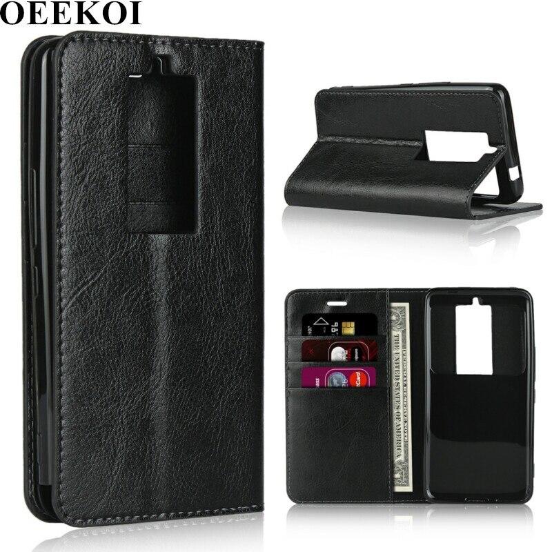 OEEKOI Crazy Horse Genuine Leather Wallet Flip Case for Kyocera Basio 3 KYV43