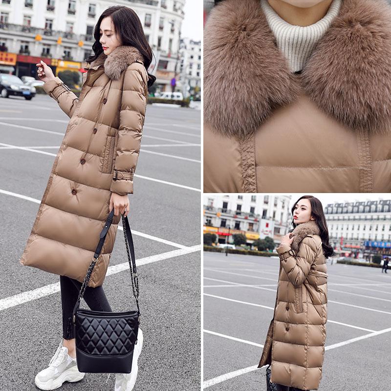 Abrigo clásico de doble botonadura para mujer, Parka de Invierno para mujer, ropa larga gruesa para invierno, abrigo, abrigo para mujer, cuello de piel grande cálido