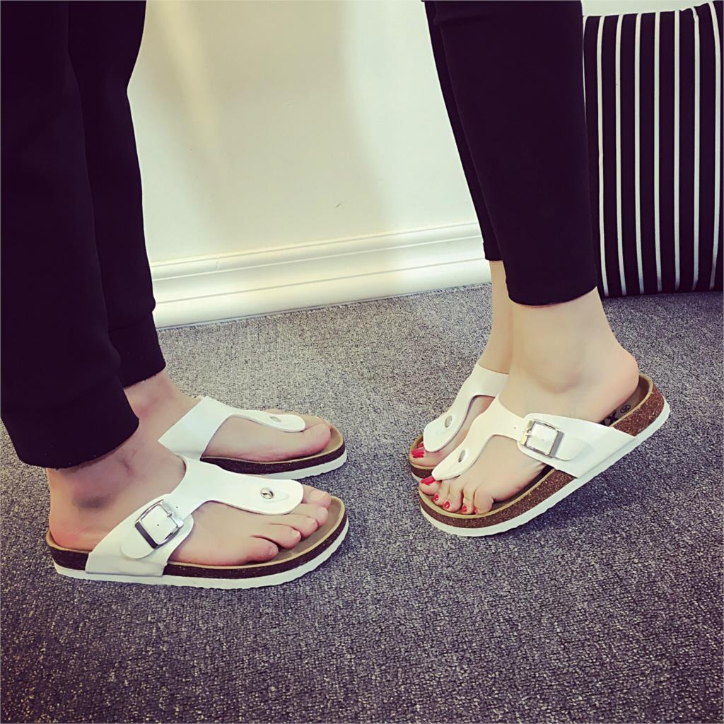 Summer couple slippers 2020 new Anti-skid cork slippers Flat slippers beach sandals women sandals 35-44