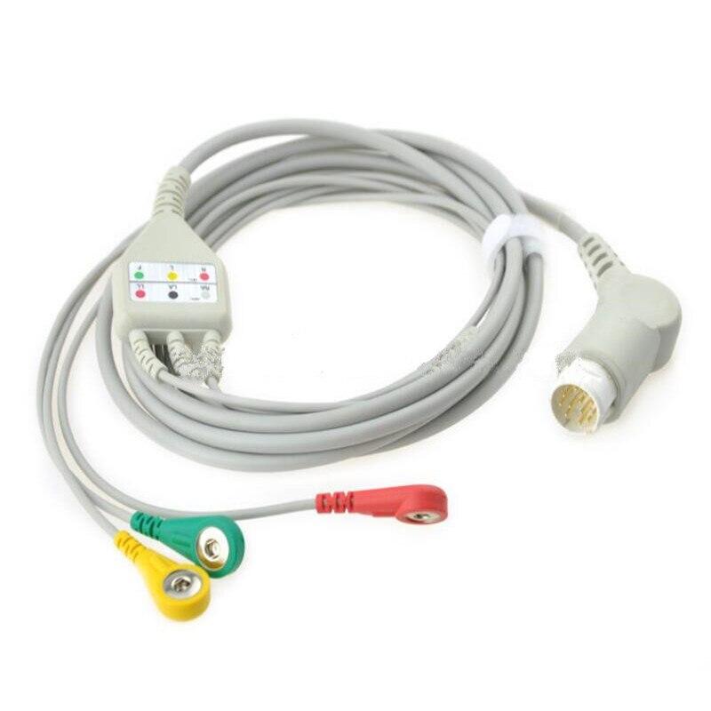 متوافق ل فيليبس/HP 12Pin MP20/30/VM6 المريض كابل الشاشة ECG 3 يؤدي ، ECG كابل leadwires رسم Snap End IEC. TPU 3M