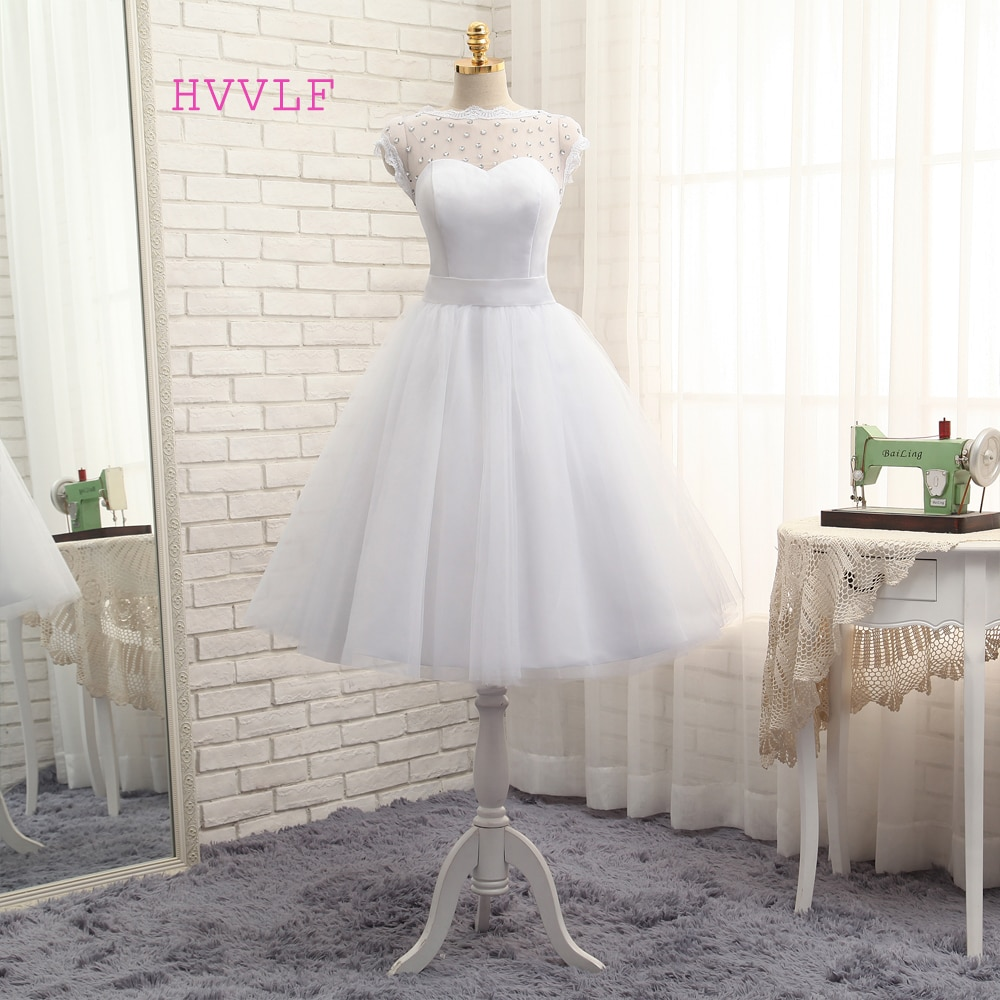 Vestido De Noiva 2019 Short Wedding Dresses A-line Tea Length Tulle Crystals Bow Backless Cheap Boho Wedding Gown Bridal Dresses