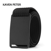 Fashion Men Long Belt Black Aluminum Buckle Knitted Belt Canvas Tactical Belt 1.5 Inch Cinturon Hombre Belt Length