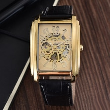 Relogio Masculino  Top Brand Luxury Gold Skeleton Automatic Mechanical Watches Men Leather Band Rect