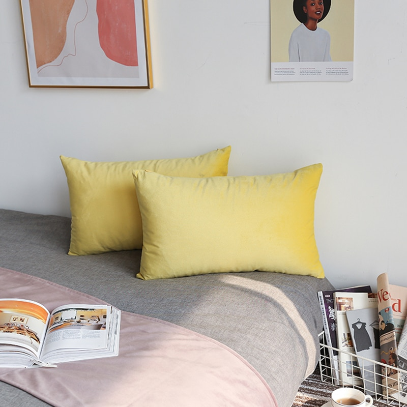 Housse de coussin rectangulaire, housse en velours, pour salon, canapé, décoration de maison, 26 couleurs, 30x50, taie d'oreiller