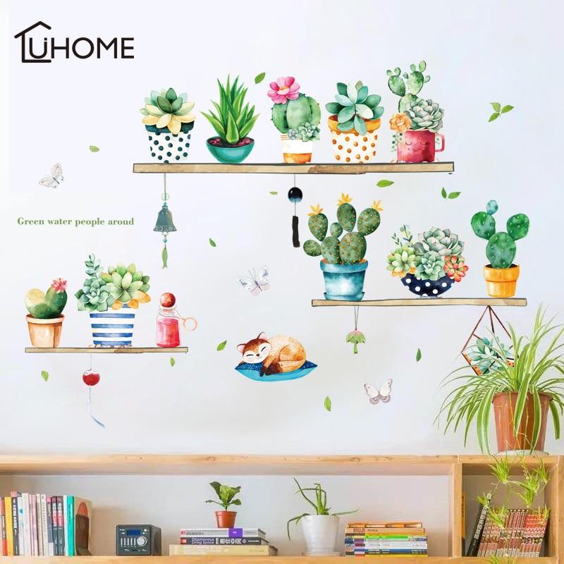 Succulents Cactus Pot Plant Flower Wall Sticker for Living Room Bedroom DIY Bonsai Wall Mural Art PVC Wall Decals DIY Decoration