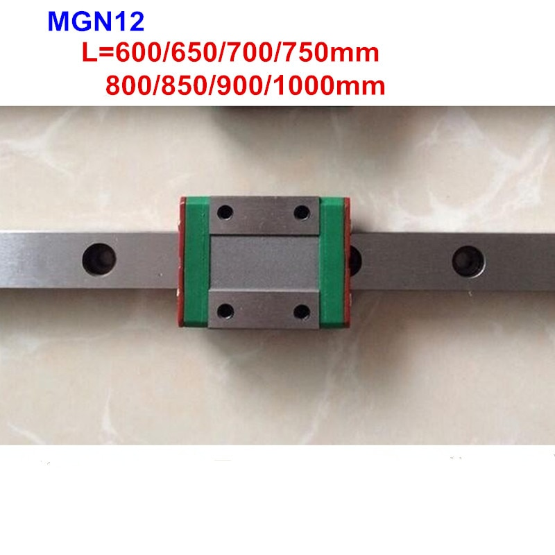 MGN12 guía de carril lineal 600mm 650mm 700mm 750mm 800mm 1000mm + MGN12 C o MGN12 H transporte para 3d impresora