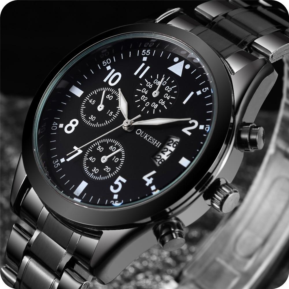 Relojes deportivos para hombre, relojes de pulsera de cuarzo, reloj de pulsera de acero inoxidable sólido, reloj de pulsera a prueba de agua, reloj de pulsera