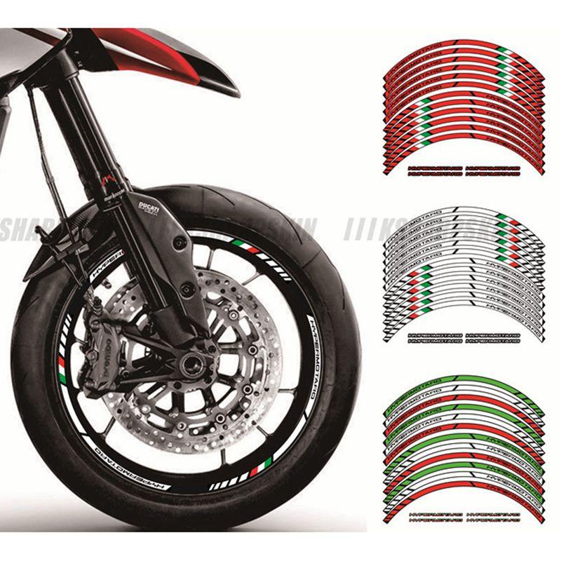 2 X Dikke Rand Outer Rim Sticker Streep Wiel Decals Fit Alle Ducati Hypermotard 939 796