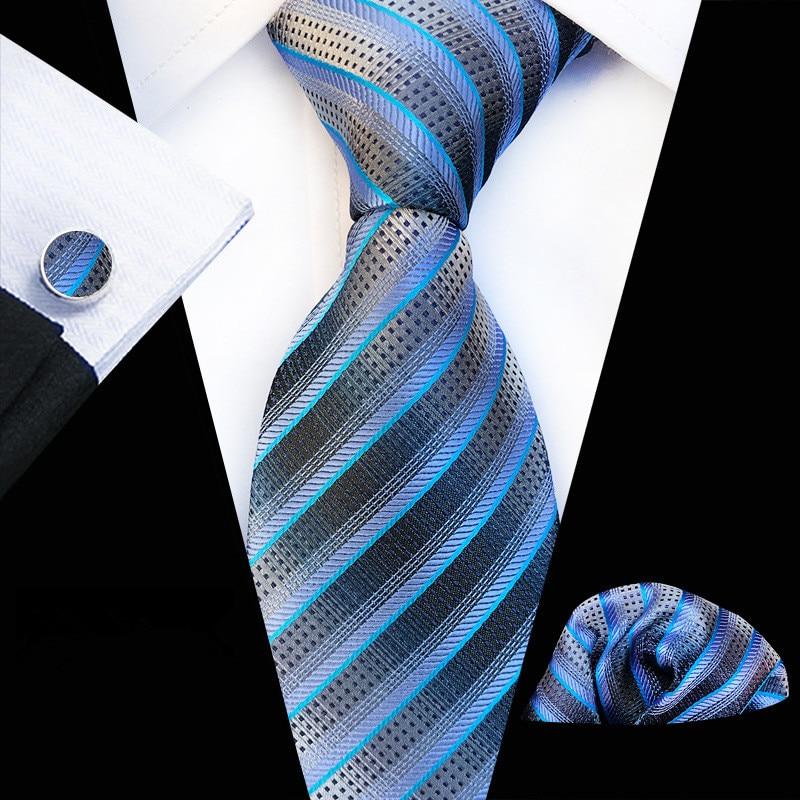 Tie Set Jacquard Weave Silk Tie Gravata Handkerchief Cufflinks Set Pocket Square Men Necktie for Wedding Drop Shipping